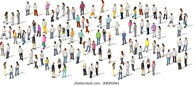 Big group of people on white background  - Shutterstock ID 308393441