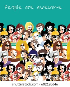 Big group people sky and sign. Hand drawn textures. Color vector illustration. EPS8
