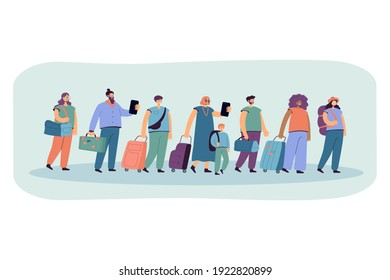 Big group of tourists in line with baggage flat vector illustration. Cartoon happy characters walking in airport with suitcases and bags. Travel and journey concept
