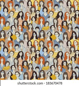 Big group woman seamless pattern Only woman. Big crowd with happy young pretty unrecognizable woman. Color vector illustration.