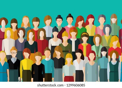 Big group women seamless pattern Only women. Crowd of happy young pretty unrecognizable women. International women s day. Flat design, vector illustration.
