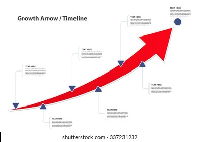 Big growth Arrow / Timeline with text options / A way to success - Vector infographic template