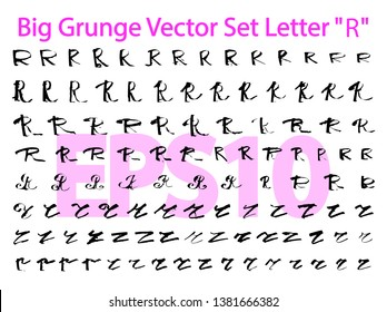"""Big Grunge Vector Set Letter """"R"""". Different styles of writing large and small letters """"R"""". Hand drawn letters with black ink. Big set only """"R"""". EPS10"""