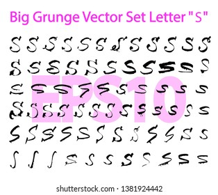 """Big Grunge Vector Set Letter """"S"""". Different styles of writing large and small letters """"S"""". Hand drawn letters with black ink. Big set only """"S"""". EPS10"""