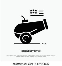 Big Gun, Cannon, Howitzer, Mortar solid Glyph Icon vector
