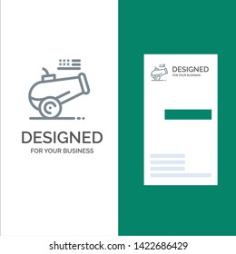 Big Gun, Cannon, Howitzer, Mortar Grey Logo Design and Business Card Template