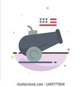 Big Gun, Cannon, Howitzer, Mortar Abstract Flat Color Icon Template