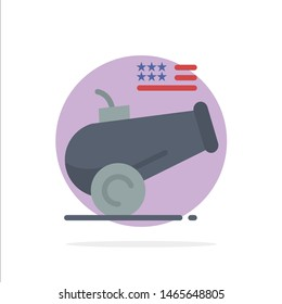 Big Gun, Cannon, Howitzer, Mortar Abstract Circle Background Flat color Icon. Vector Icon Template background
