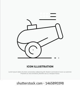 Big Gun, Cannon, Howitzer, Mortar Line Icon Vector. Vector Icon Template background