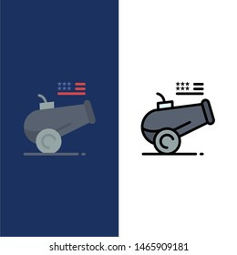 Big Gun, Cannon, Howitzer, Mortar  Icons. Flat and Line Filled Icon Set Vector Blue Background. Vector Icon Template background