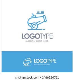Big Gun, Cannon, Howitzer, Mortar Blue Outline Logo Place for Tagline. Vector Icon Template background