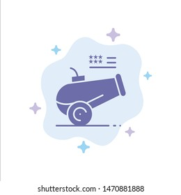 Big Gun, Cannon, Howitzer, Mortar Blue Icon on Abstract Cloud Background. Vector Icon Template background