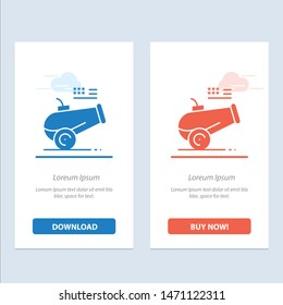 Big Gun, Cannon, Howitzer, Mortar  Blue and Red Download and Buy Now web Widget Card Template. Vector Icon Template background