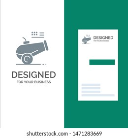 Big Gun, Cannon, Howitzer, Mortar Grey Logo Design and Business Card Template. Vector Icon Template background
