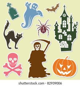Big Halloween collection sticker with bat, pumpkin, ghost, element for design, vector illustration