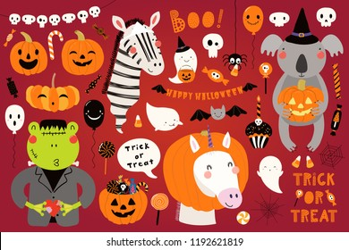 Big Halloween set with cute animals koala, unicorn, zebra, frog in costumes, ghosts, pumpkin, candy. Isolated objects. Hand drawn vector illustration. Scandinavian style flat design. Concept for party