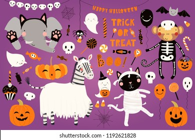 Big Halloween set with cute animals cat, zebra, monkey, elephant in costumes, ghosts, pumpkin, candy. Isolated objects. Hand drawn vector illustration. Scandinavian style flat design. Concept party.