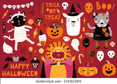 Big Halloween set with cute animals lion, cat, llama, wolf in costumes, ghosts, pumpkin, candy. Isolated objects. Hand drawn vector illustration. Scandinavian style flat design. Concept for kids party