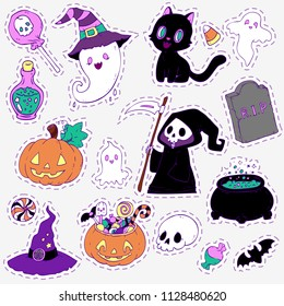 Big halloween set with pumpkins, ghosts, death. Many creepy and nightmarish characters. For a horrific decoration.