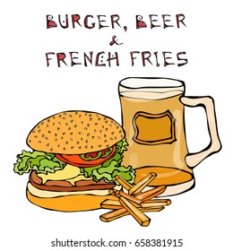 Big Hamburger or Cheeseburger, Beer Mug or Pint, Fried Potato or French Fries. Burger Lettering. Realistic Doodle Cartoon Style Hand Drawn Sketch Vector Illustration.Isolated On a White Background.