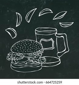 Big Hamburger or Cheeseburger, Beer Mug or Pint and Fried Potato. Burger Lettering. Isolated on a Black Chalkboard Background. Realistic Doodle Cartoon Style Hand Drawn Sketch Vector Illustration.