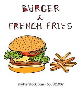 Big Hamburger or Cheeseburger with Fried Potato or French Fries. Burger Lettering. Realistic Doodle Cartoon Style Hand Drawn Sketch Vector Illustration.Isolated On a White Background.