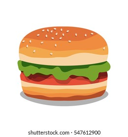 Big hamburger on white background. Burger. Delicious fast food. Vector illustration.