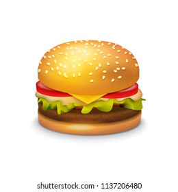Big Hamburger Sandwich on white background - Vector Clipart Illustration of American Burger