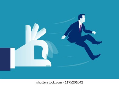 Big hand of boss giving flick, rap, tap to a business man. Firing someone concept. Vector illustration and info graphic design in flat linear style isolated on blue background. Minimalist white blue.