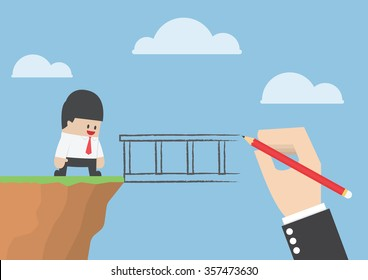 Big hand drawing a bridge for help businessman to cross abyss, VECTOR, EPS10