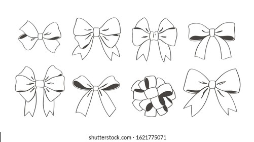 Big hand drawn doodle decorative bows and ribbons isolated on white background. Black outline set for hair decoration, celebration party items, gift packaging, present cards and luxury wrap pack