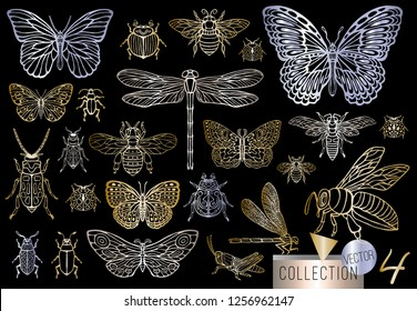 Big hand drawn golden line set of insects bugs, beetles, honey bees, butterfly; moth, bumblebee, wasp, dragonfly, grasshopper. Silhouette vintage gold silver sketch style vector illustration.