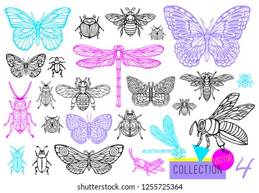 Big hand drawn line set of insects bugs, beetles, honey bees, butterfly; moth, bumblebee, wasp, dragonfly, grasshopper. Silhouette vintage sketch style engraved illustration.