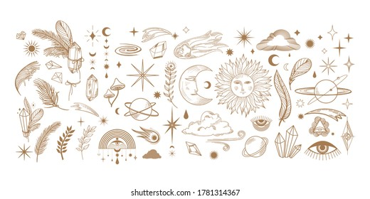 big hand drawn set of celestial bodies and mystic magical elements in vintage boho style. illustration for flash tattoo, sticker, patch or print design. Vector vintage boho elements