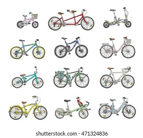 Big hand drawn set of different bicycles.
