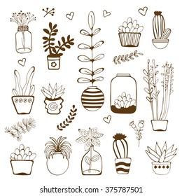 Big hand drawn set of house plants