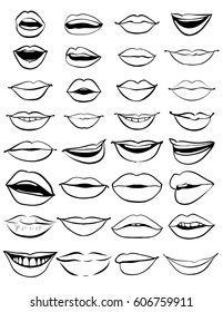 Big hand drawn set of outline lips. Vector illustration on a white background. EPS