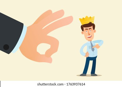 Big hand flicks away a bastard, upstart and impostor. Finger flicking a bouncer and liar. Braggart with a crown on his head. Vector illustration, flat design, cartoon style, isolated background.