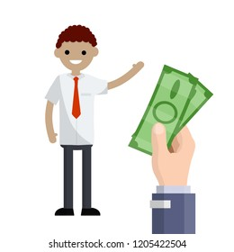 Big hand with green cash. A man in a suit with a tie waving. Office worker gets paid.
