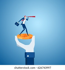 Big hand holding money coin with businessman stand on money using telescope looking for investment, success, opportunities, future business trends. Vision concept. Cartoon Vector Illustration.