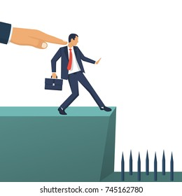 Big hand of leader pushes subordinate employee into abyss. Standing on cliff. Danger of falling into abyss. Business challenge concept. Vector illustration flat design. Isolated on white background.