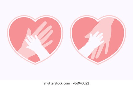 Big hand of mother holding small hand of baby inside heart shaped symbol and frame icon, logo, sign or symbol