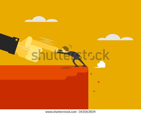 big hand push man to cliff edge