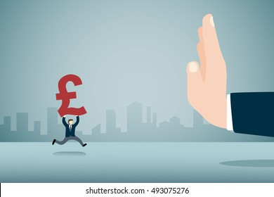 Big hand refuse Pound currency sign from small businessman metaphor anti corruption.