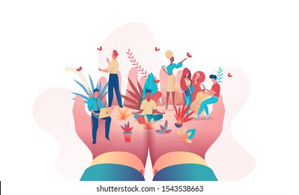 Big hands of boss hold of small people. Metaphor of office people under protection of leader. Safety at work concept, care, relaxed atmosphere, perks benefits for personnel. Flat vector illustration