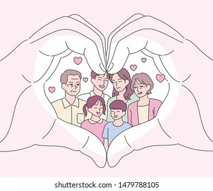 Big hands making a heart gesture. There is a happy family in it. hand drawn style vector design illustrations.