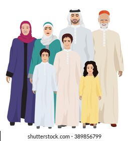 Big and Happy arab Family vector illustration. Arab family together