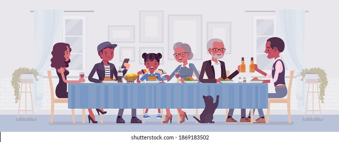 Big happy black family eating festive dinner at table. Holiday gathering for many people of different generations, friends, community, dining traditions. Vector flat style cartoon illustration