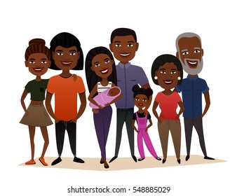 Big happy black family isolated vector illustration.