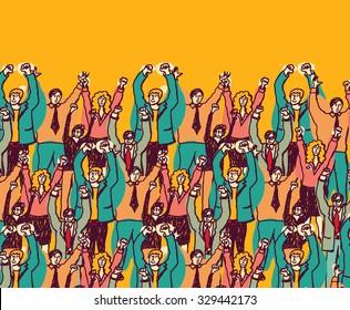 Big happy business team color people. Big group togetherness happy business people. Color vector illustration. EPS8